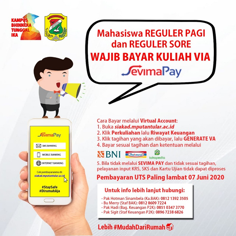 Pembayaran UTS Wajib menggunakan VA / Sevima PAY