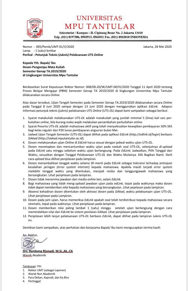 UTS Semester Genap 2019/2020 (2019.2) akan di laksanakan dari Tgl 8 s.d 13 Juni 2020