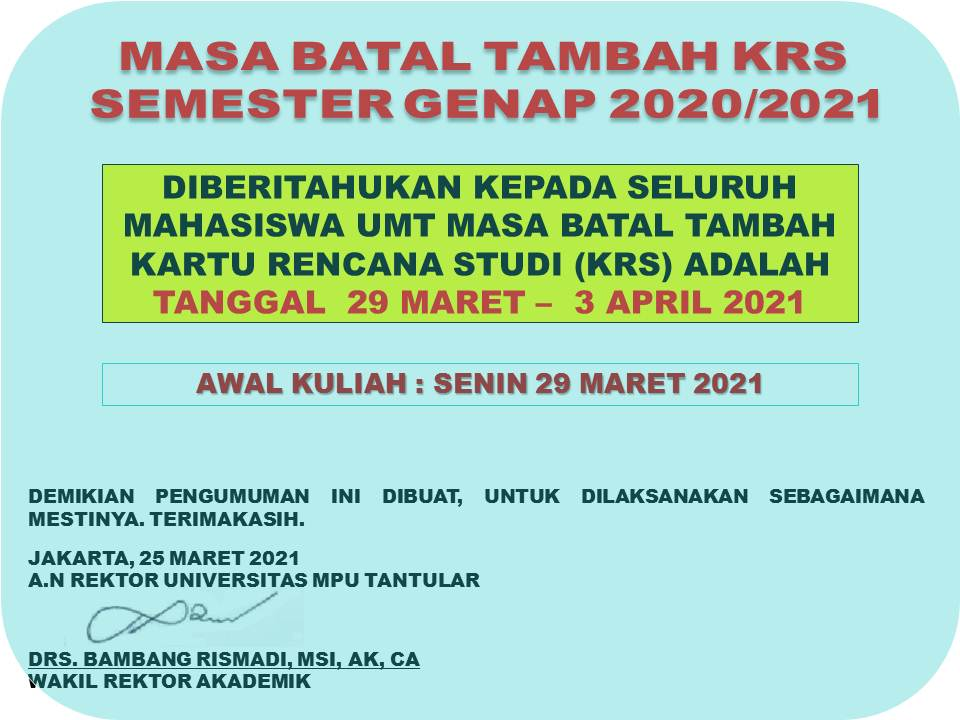 Masa Batal Tambah KRS Semester Genap 2020/2021 ( 29 Mar s.d 3 April 2021)
