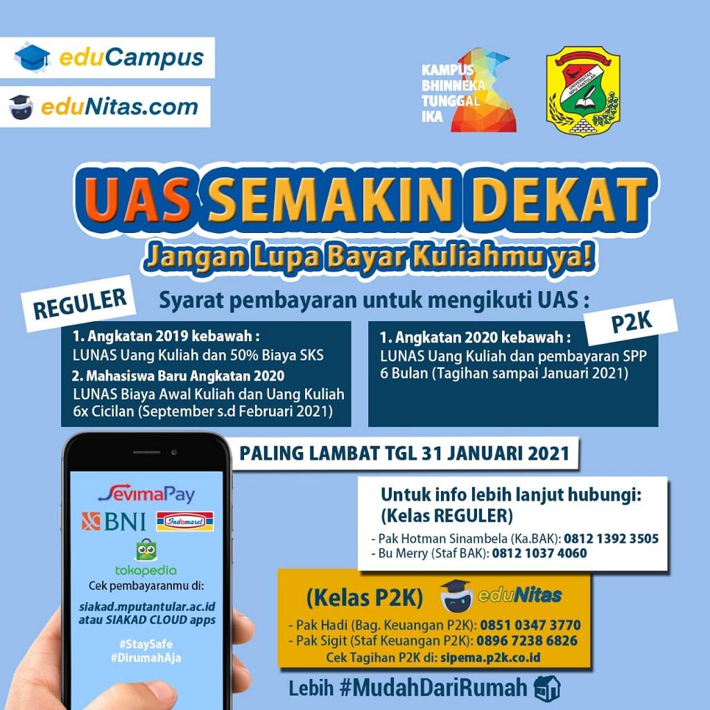 pembayaran UAS untuk mahasiswa Reguler & P2K